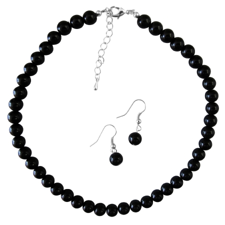 Prom Wedding Gift Inexpensive Handcrafted Black Pearls Jewelry Set