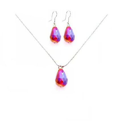 Chinese Crystals Siam Red Teardrop Necklace Set Gift Jewelry