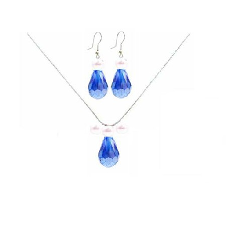 Sapphire Crystal Jewelry Teardrop with White Pearl Chinese Sapphire Crystal Necklace Set