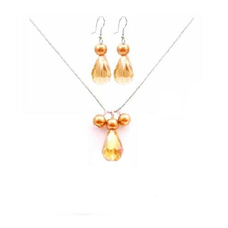 Gold Pearls & Topaz Crystal Teardrop Jewelry Set Affordable Inexpensive Jewelry