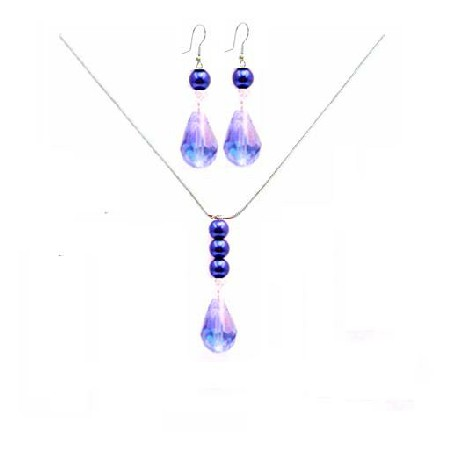 Crystal Teardrop Necklace Set Lite AB Lite Sapphire Teardrop Necklace Set Wedding Jewelry Set