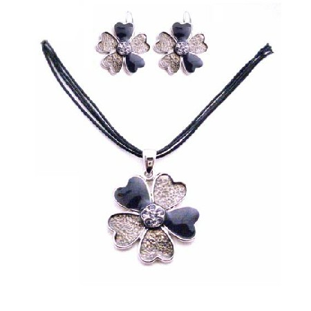 Flower Enamel Pendant Black & Black Diamond Ethnic Jewelry