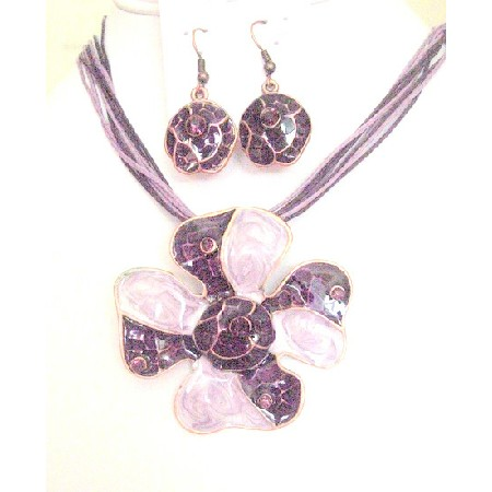 Artform Designed Necklace Set Purple Enamel Flower Pendant Necklace
