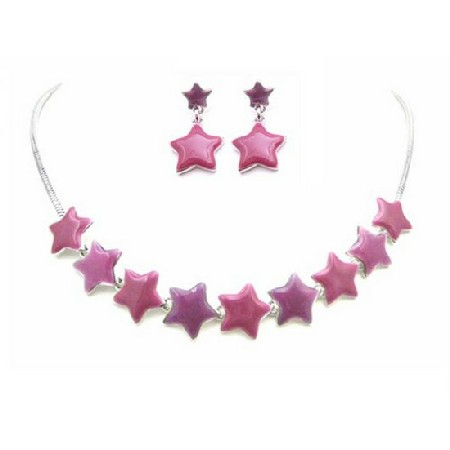 Christmas Jewelry Star Charm Jewelry Beautiful Pink & Fuchsia Stars