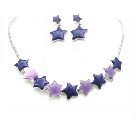 Birthday Gift Jewelry Set Affordable Stars Pendant & Earrings Set