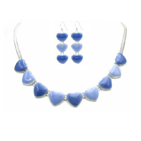 Hearts Pendant & Earrings Jewelry Set Light & Dark Blue Jewelry Set