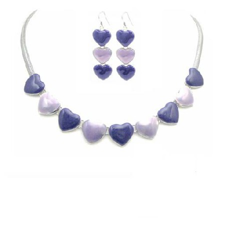 Romantic Jewelry Gift Jewelry Affordable Hearts Pendant & Earrings Set