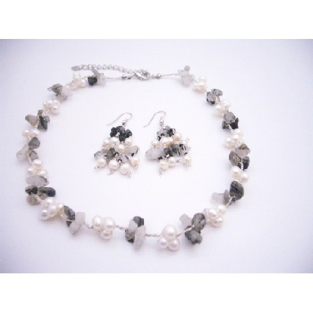 Onyx Nugget & Freshwater Pearls Necklace Set
