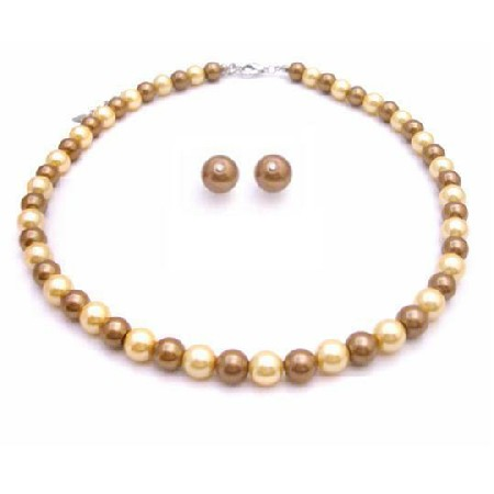 Pearl Stud Earrings Jewelry Set Latte Pearls & Yellow Pearls Unbeatable Inexpensive Jewelry