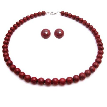 Unbeatable BridesmaidJewelry In Passionate Coral Red Pearl Necklace Set