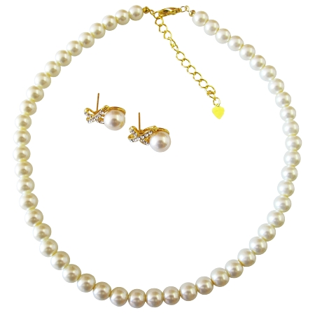 Cream Pearls Gold Chain Wedding Jewelry Gold Rhinestone Earrings