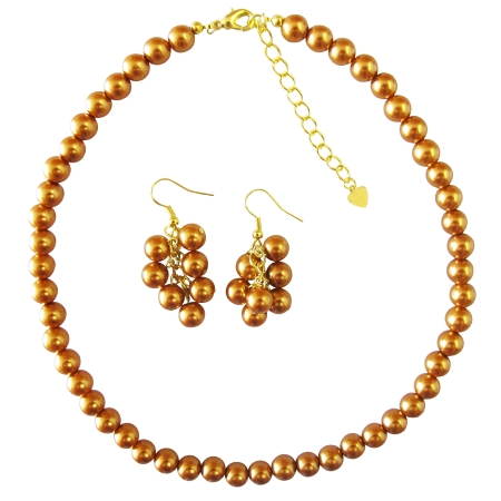 Gold Necklce Set with Golden Pearls Affordable Bridal BridesmaidHandmade Jewelry Set
