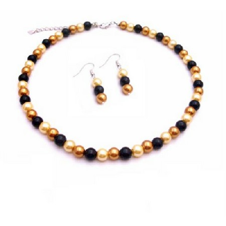 Butter Yellow Pearls Golden & Black Pearls Beautiful Necklace Set