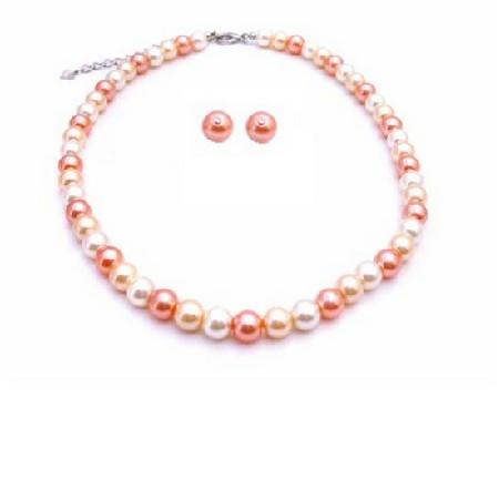 Fascinate Jewelry Peach Ivory Tangerine Pearls Prom Custom Jewelry Set