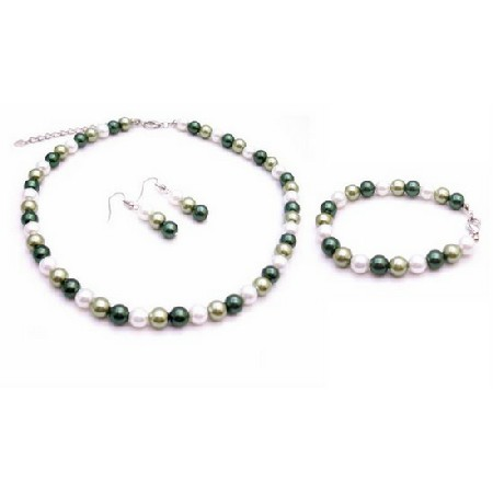 Customize Handmade Jewelry Green Lovers Wedding Prom Jewelry Set