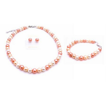 Never Before Orange Pearls w/ Peach & White Complete Handmade Jewelry
