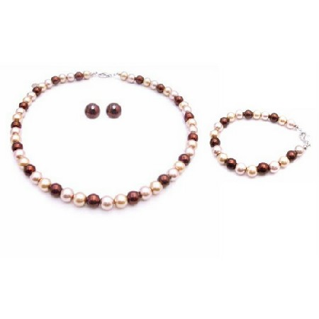 Thrill Pearls Color Burnt Brown Champagne Gold Customize Your Jewelry
