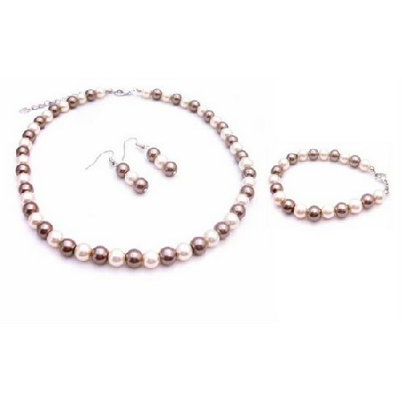 Fashion Jewelry For Every Bridesmaid In Bronze/Ivory Complete Set