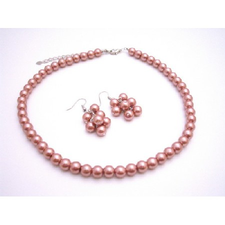 Dangling Grape Pearl Earrings Set Match Wedding Jewelry In Brick Guava Necklace Set