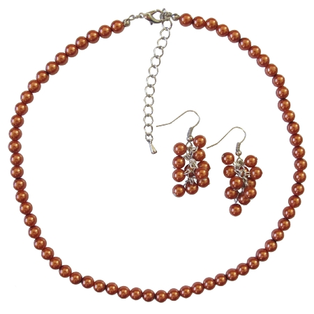 Fabulous Soothing Color In Burnt Orange Pearls Necklace Set