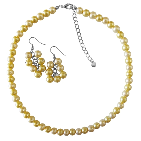 Summerish Jewelry Pearl Color Daffodill Pearls Necklace Set Under $10 Necklace Set