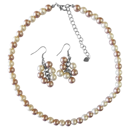 Inexpensive Trendy Wedding Pearls Champagne & Ivory Necklace Set