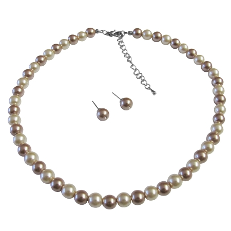 Wedding Shower Gifts Ivory & Champagne Pearls Combo Necklace Set