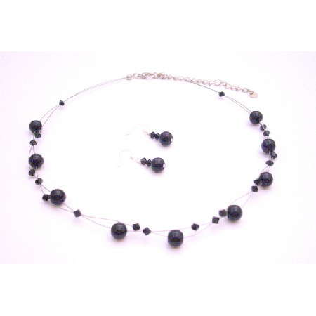 Evening Wear Jewelryf Black Pearls Swarovski Jet Crystals Necklace Set