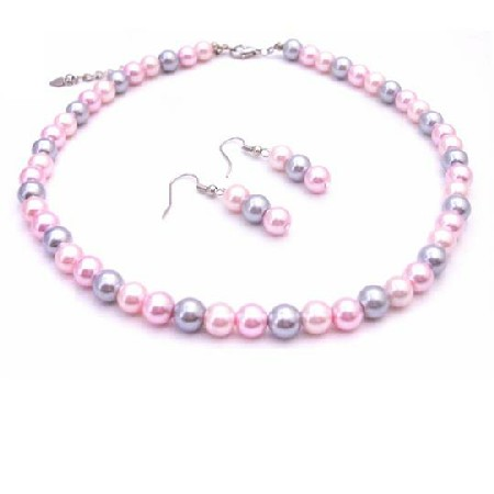 Prom Jewelry In Beautiful Pink Candy Pink & Silver Pearls Jewelry Set