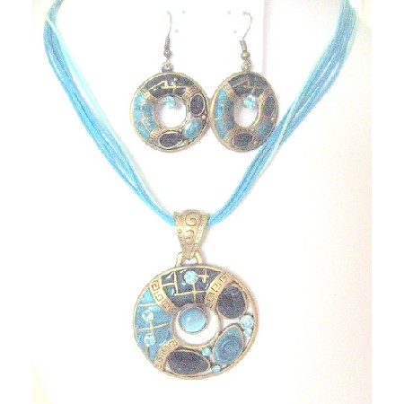 Jewelry Blue Round Pendant & Earrings Traditional Jewelry Necklace Set