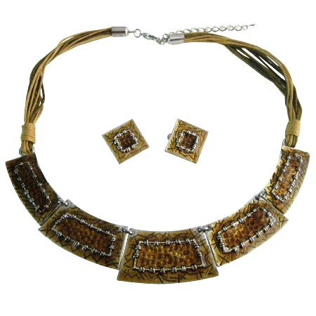 Rectangular Jewelry Ethnic Gorgeous Enameled Brown Necklace Set