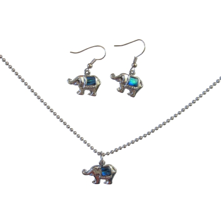 Gift Jewelry Elephant Pendant & Earrings Long Chain 24 Inches Necklace