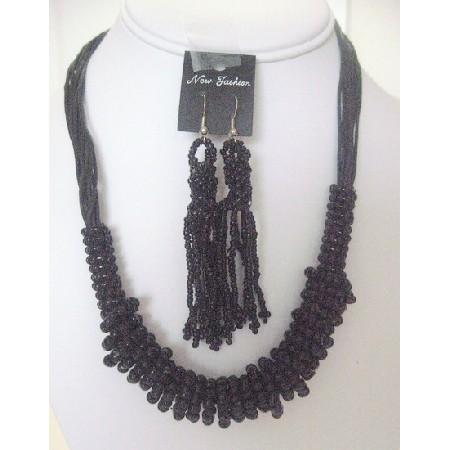 Black Jute Necklace Set Trendy w/ Dangling Earrings
