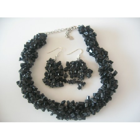 Semi Precious Onyx Nuggets Beads Trendy Funky Jewelry Necklace Set