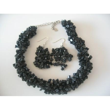 Semi Precious Onyx Nuggets Beads Trendy Funky Jewelry Necklace Set