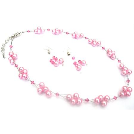 Prom Jewelry Wedding Bridesmaid Handmade Pink Pearl