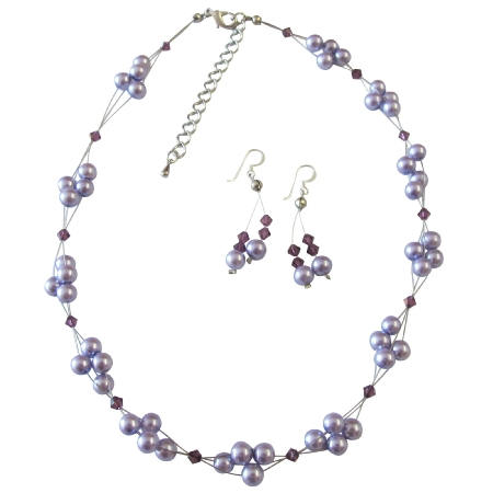 The Perfect Prom Wedding Flower Girl Jewelry Lilac Pearls & Amethyst Crystals Swarovski Crystal Necklace Set