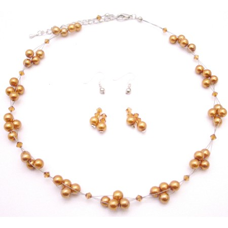 Find Wedding Prom Crystal Necklace Set Copper Golden Pearls with Copper Crystals Jewelry Set