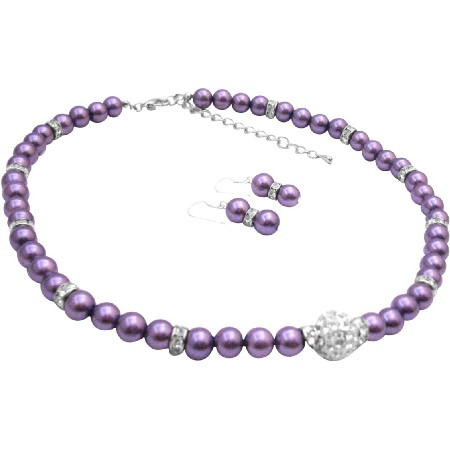 Cute Pave Ball CZ Pendant Purple Pearl Necklace Silver Rondells Spacer Necklace Earrings Set