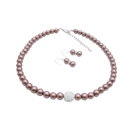 Nickle Free Jewelry Bronze Brown Pearl with Cubic Zircon Pave Ball Pendant Necklace Earrings Set