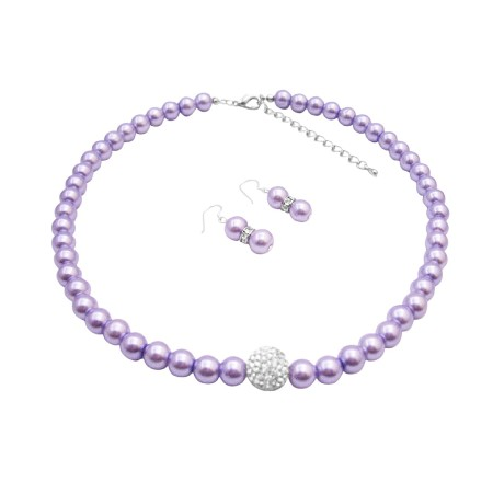 Wear Style Pearls w/ Diamond Ball Necklace & Bracelet Set