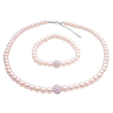 Junior Bridesmaid Jewelry Nickle Free Cubic Zircon Diamante Ball