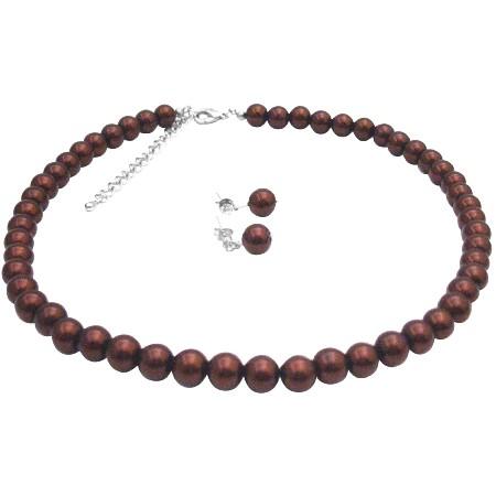 Elegant Chocolate Brown Chocolate Pearl Jewelry Affordable Under $10 Wedding Set