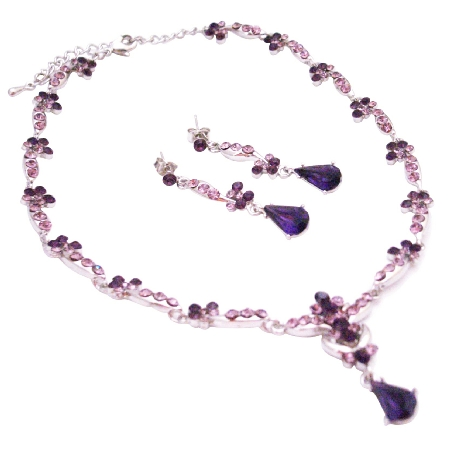 Vintage Silver Crystals Necklace Earrings Set Lite & Dark Amethyst