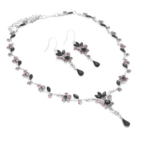 Spectrum Of Black & Black Diamond Crystals Victorian Bridal Jewelry