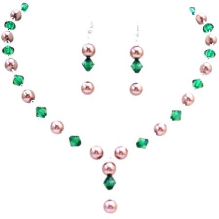 Women Jewelry Handmade Bronze Brown Pearls & Emerald Chinese Crystals