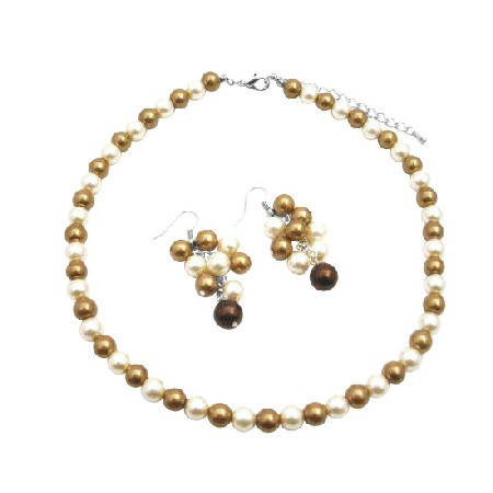 Grape Set In Wedding Colors Ivory & Latte Pearls Jewelry Set
