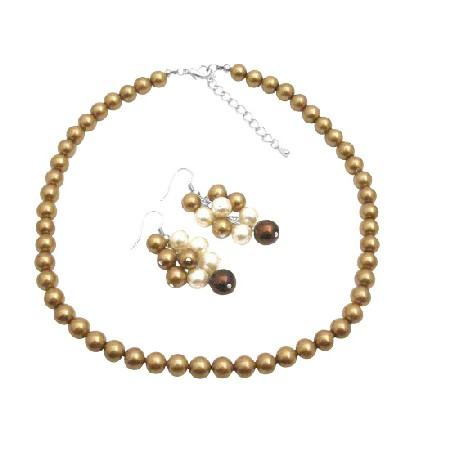 Adorable Grape Set in Wedding Colors Ivory & Latte Pearls Jewelry