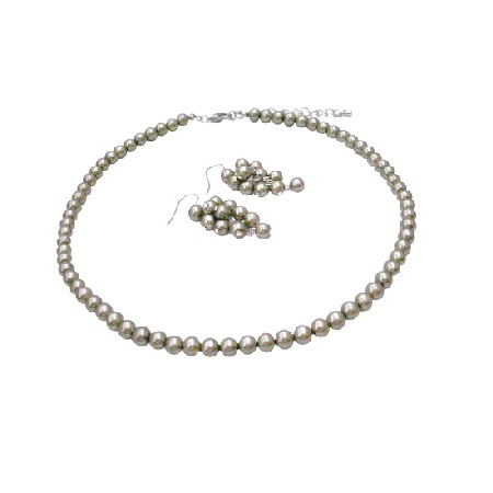 Women Jewelry in Unique Pearl Color Pistachu Pearl Necklace Earrings
