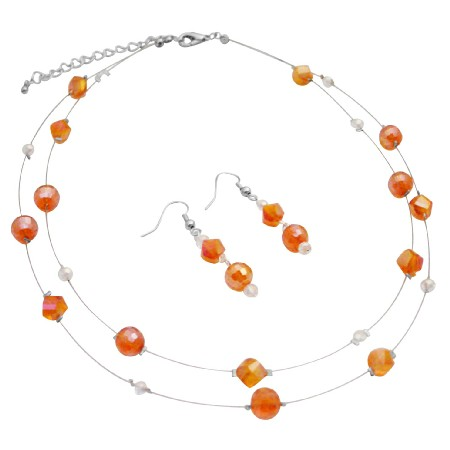 Double Stranded Glass Beads Chinese Crystals Orange Necklace Earrings